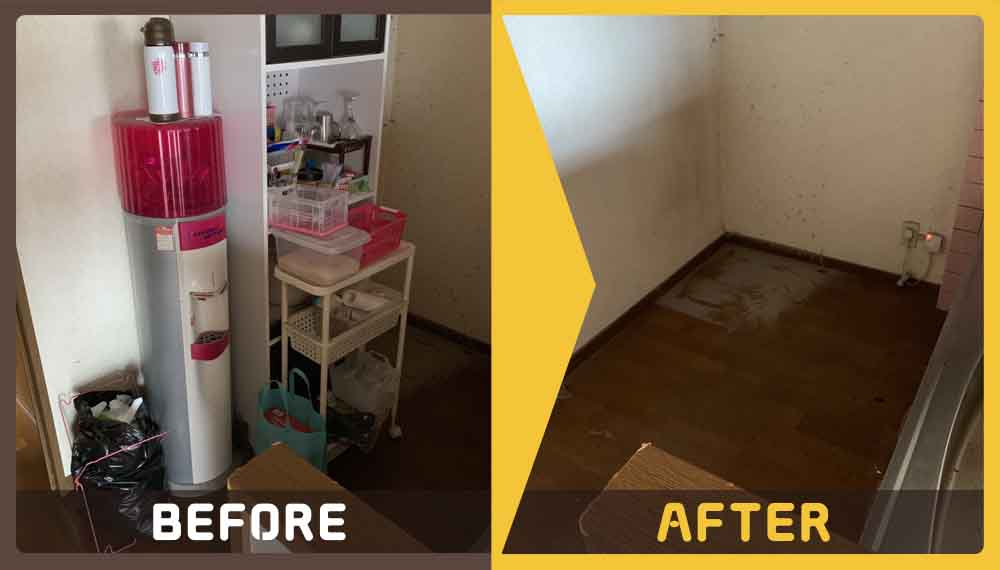 アパート(2DK)を退去するにあたりお部屋にある不用品回収と簡易清掃のご依頼を頂きました。