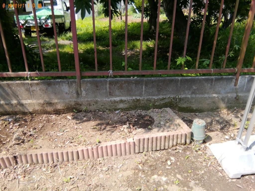 【都留市】ブロック、庭石、物干し台の土台、コンクリート片等の回収